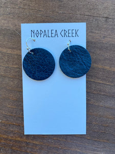 Black Mini Leather Earrings