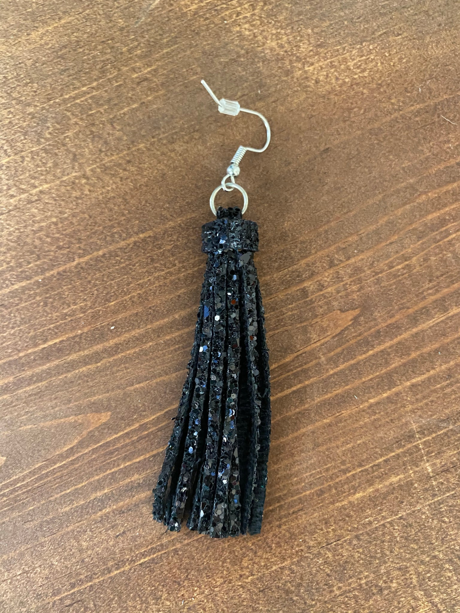Black Glitter Fringe Earrings