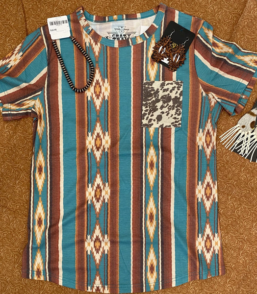 Aztec Cow Pocket Top S-3X