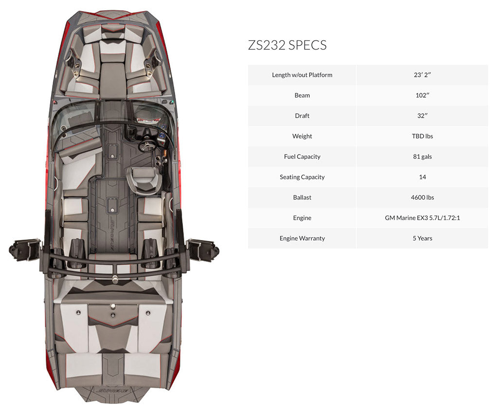 Supreme ZS232 wake boat interior and information