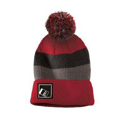 Pom Beanie Red/Charc/Grey