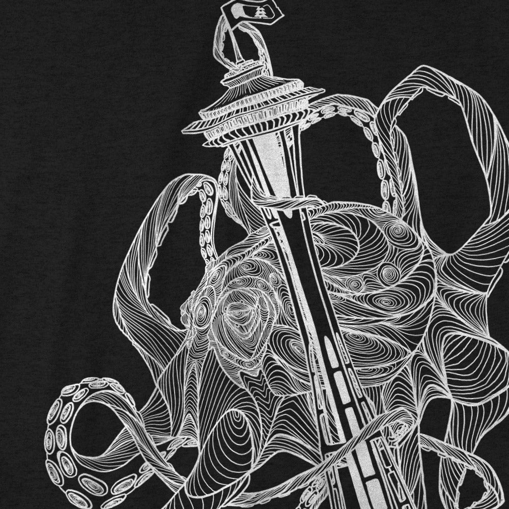 Kraken Space Needle T-Shirt Charcoal Heather