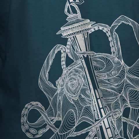 Kraken Space Needle T-Shirt Indigo Heather