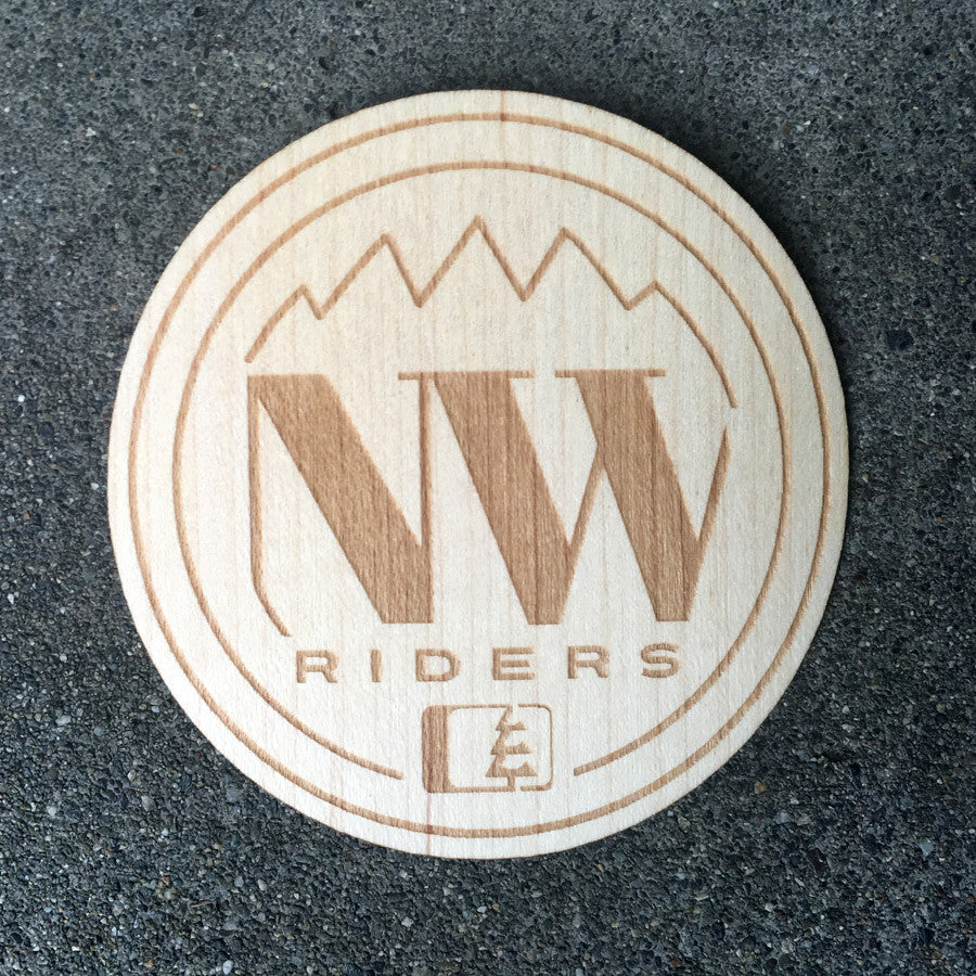 NW Circle Wood Sticker Maple