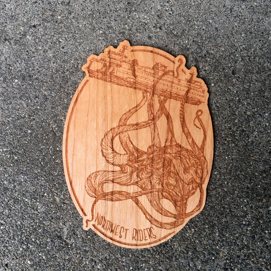 Kraken Wood Sticker Cherry