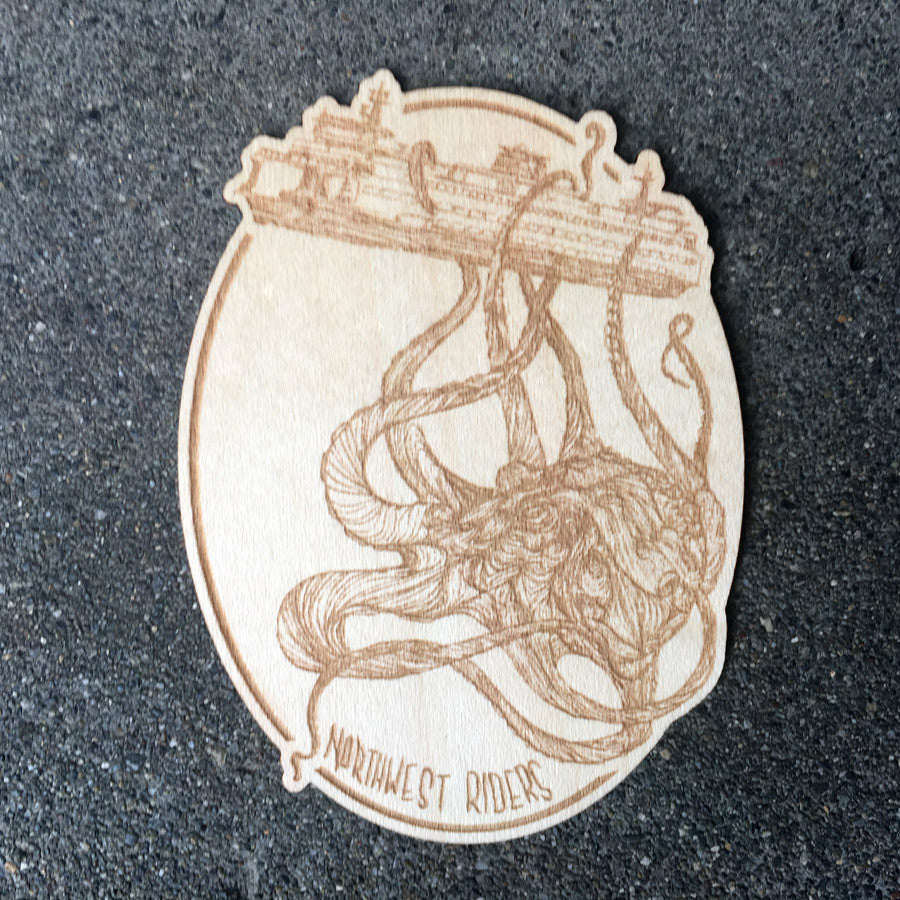 Kraken Wood Sticker Maple