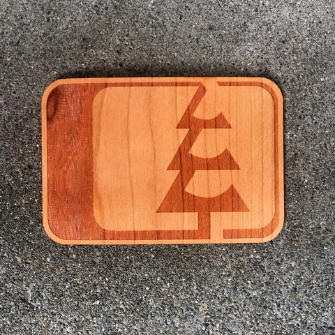 Tree Logo Wood Sticker Cherry