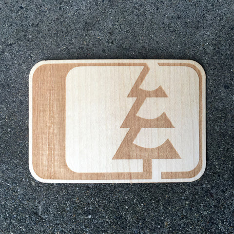 Tree Logo Wood Sticker Maple