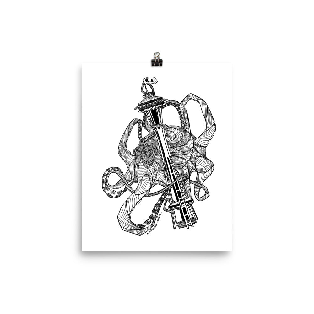 Kraken Space Needle Poster (Matte)