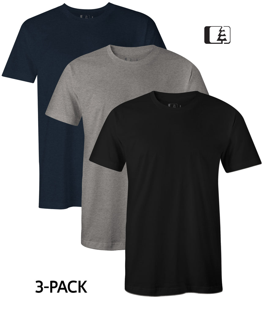 3-Pack 60/40 Blend T-Shirt Black/Grey/Navy