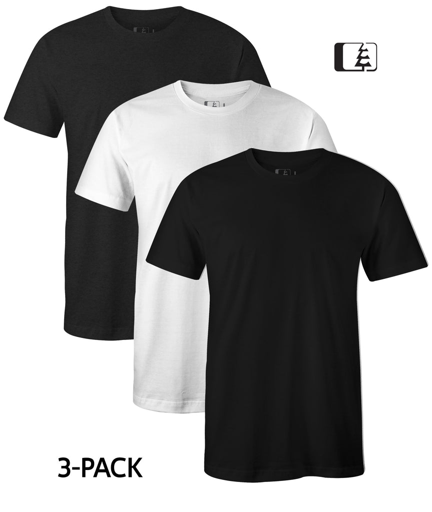 3-Pack 60/40 Blend T-Shirt Black/White/Charcoal