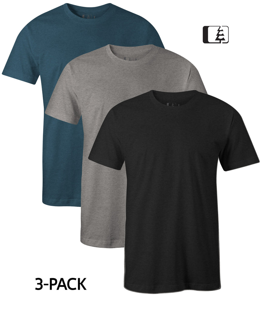 3-Pack 60/40 Blend T-Shirt Charcoal/Grey/Indigo