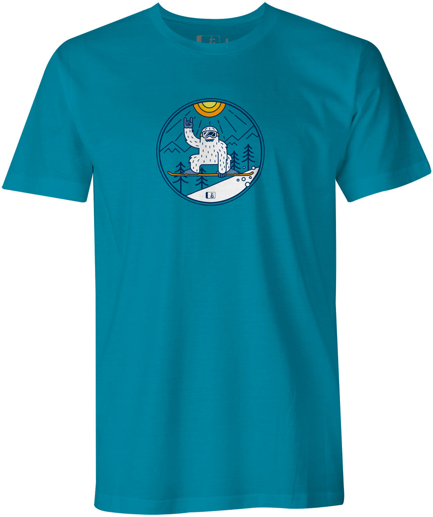 Shred Squatch Yeti T-shirt  (DTG: Delayed Ship)