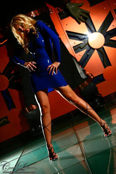 Blue Latex Dress-Photo Downloads-Carrie LaChance