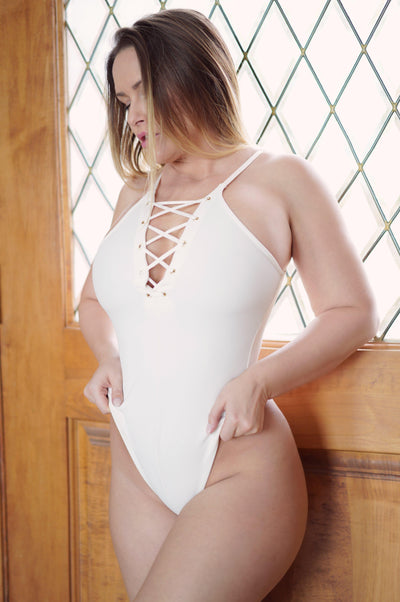 White Thong Bodysuit-Closet Collectibles-Carrie LaChance