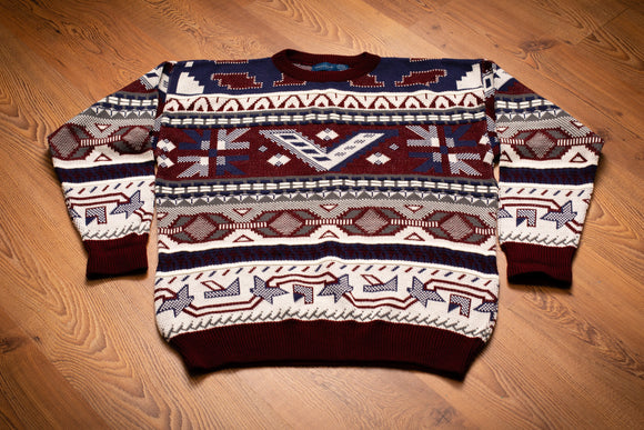 90s Towncraft Aztec Ski Sweater, XL, Vintage Knit Pullover Shirt, Acrylic, Like New
