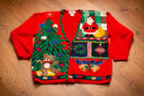90s Christmas Sweater with Jingle Bells, L, Vintage Knit Cardigan, Shoulder Pads