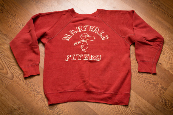 70s-80s Maryvale Flyers Snoopy Red Baron Sweatshirt, XS/S, Vintage Crewneck