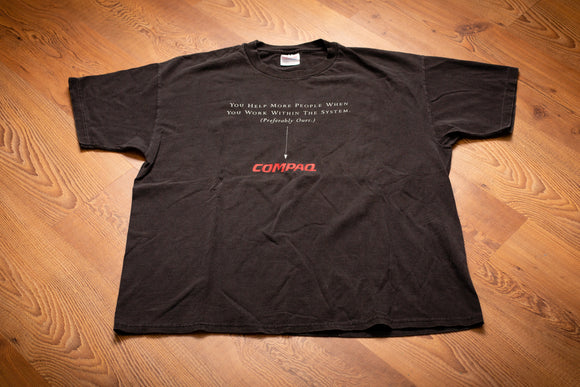 90s Compaq Work Within Our System T-Shirt, XL, Vintage Tee, Computer Tech