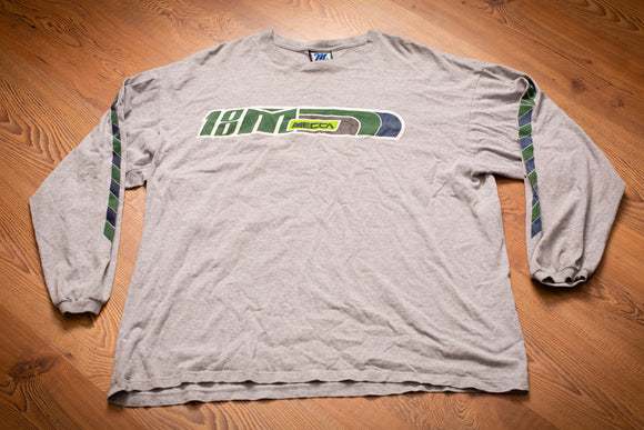 vintage 90s gray long sleeve t-shirt with green and blue mecca logo and graphics