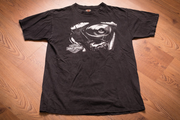 vintage 90s black t-shirt with harley davidson logo and engine graphic