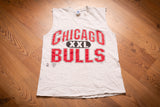 vintage 90s gray sleeveless t-shirt with big spellout chicago bulls text