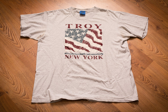 vintage 90s pinstripe t-shirt with american flag graphic and troy new york text