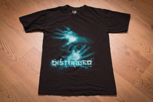 2000 Disturbed T-Shirt, S, Vintage 2-Sided Graphic Tee, Heavy Metal Band