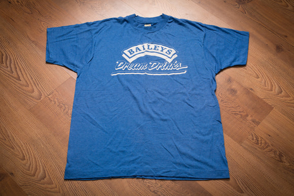 vintage 80s blue t-shirt with baileys dream drinks logo