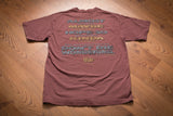 Vintage 90s faded burgundy t-shirt with Christian-themed text warning people not to die wondering if they're saved or not