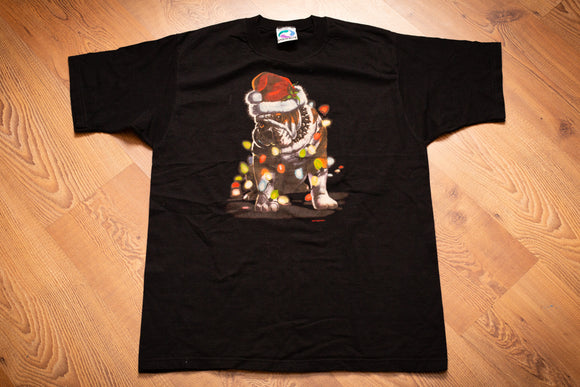 90s Christmas Bulldog Liquid Blue T-Shirt, M, Vintage Dog Tee, Santa Hat, Lights