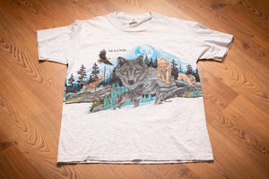 vintage 90s gray t-shirt with graphics of various wild animals from maine