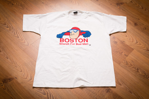 90s Boston Search for Bud Man T-Shirt, L, Vintage, Budweiser Beer, Summer 1991