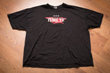 Vintage 90s black t-shirt with band name Fenix TX over an anvil graphic