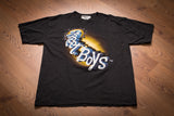 vintage 90s black t-shirt with 3-d backstreet boys text