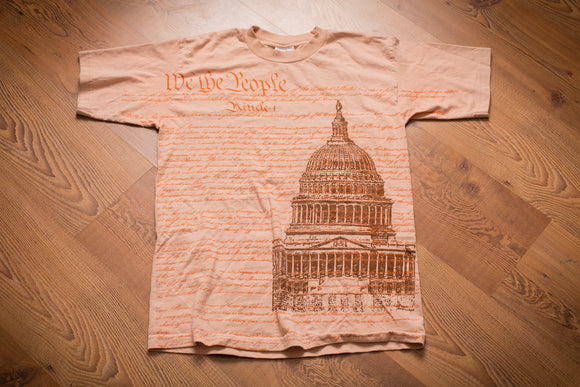 90s t-shirt with we the people us constitution text and graphic of us capitol building
