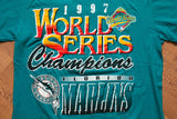 90s Florida Marlins 1997 World Series Champions T-Shirt, L, Vintage Miami Tee