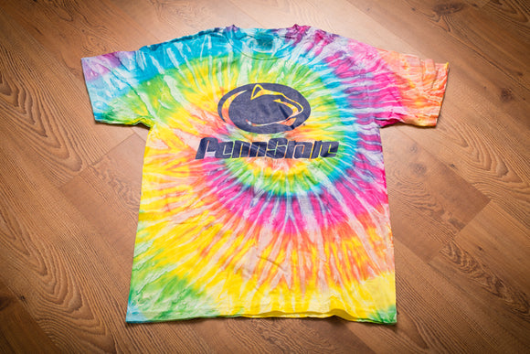 rainbow tie dye t-shirt with penn state nittany lions logo