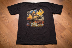 80s Fire Department to the Rescue T-Shirt, Firefighter, M, Vintage Tee