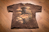 vintage 90s brown tie-dye t-shirt with graphic of bald eagle landing on branch