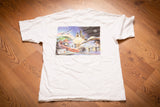 vintage 90s white t-shirt with graphics of city powered by electricity and ge logo