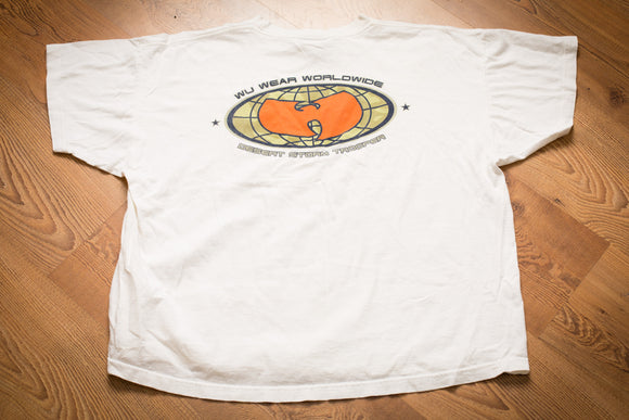White t-shirt with big Wu Tang Clan logo and text reading Wu Wear Worldwide and Desert Storm Trooper