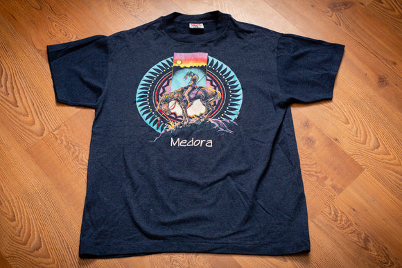 90s End of the Trail Native American T-Shirt, L, Vintage Tee, Medora ND, Indian