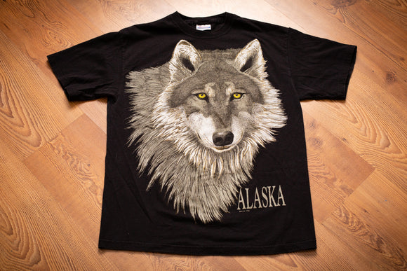 Vintage 80s black t-shirt with a large wolf head graphic and