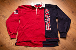 Red and blue Nautica long sleeve polo shirt