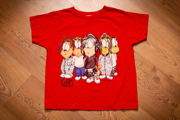 vintage 2000 red t-shirt with cartoon graphic of the metal band korn