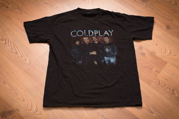 black t-shirt with text and photo of the band coldplay from their 2003 tour