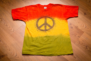 80s World Peace Sign Rasta Tie Dye T-Shirt, L, Vintage Tee, Reggae, Rastafari