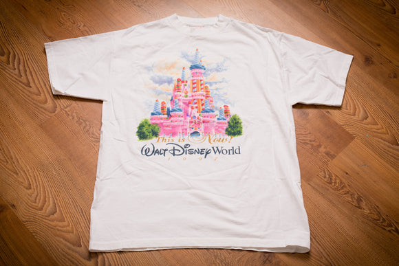 90s Walt Disney World Castle 1997 T-Shirt, L, Vintage Tee, 25 Years, Then and Now