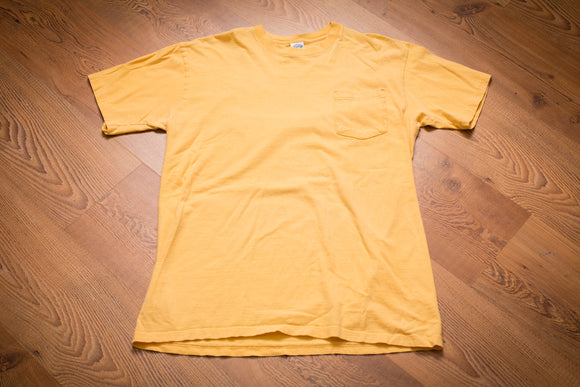 90s Towncraft Blank Yellow Pocket T-Shirt, M, Vintage Tee, JCPenney